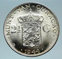 1944 CURACAO Netherlands Kingdom Queen WILHELMINA Silver 2.5 Gulden Coin i83067