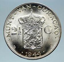 1944 CURACAO Netherlands Kingdom Queen WILHELMINA Silver 2.5 Gulden Coin i83067
