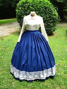 CIVIL WAR DRESS~VICTORIAN STYLE 100% COTTON SOLID NAVY BLUE HOOP SKIRT
