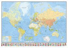 Weltkarte Poster Die Welt Riesenformat 140x100cm + 1 gratis �œ-Poster