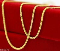 "18""L ONSALE PURE 18K Yellow Gold Necklace/ Perfect Wheat Elegant Chain / 1.64g"