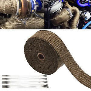 Titanium Heat WRAP 10M + 10 Ties 30CM Exhaust Insulating Downpipe Manifold RAP