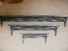 3-Piece Black Weathered Look Shelf Set Primitive (Rustic) Wood