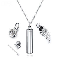 "Urns Necklace Angel Wing Charm & Crystal ""Forever in My Heart"" for Human Ashes-"