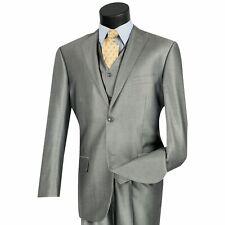 VINCI Men's Gray Shiny Sharkskin 3pc 2 Button Classic Fit Suit NEW