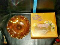 Vintage Indiana Glass Iridescent Gold Carnival Glass Hostess Plate--Original Box