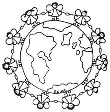 Unmounted Rubber Stamp,  Christian, Angel, Angels, World Globe, Religious Stamps