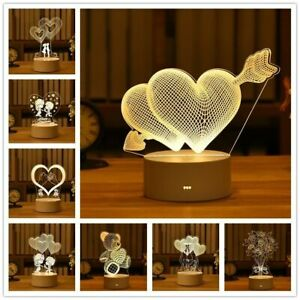 Acrylic LED Night Light Love Bear Bunny Valentine Gift  3D Lamp Room Decoration