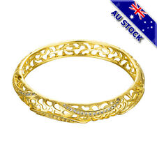 18K Yellow Gold Filled Pave CZ Crystal Hollow Bridemaid Bangle