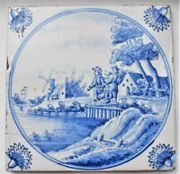 Antique Delft Tile Blue & White 3 Fishing Dutch Men Landscape Tin Glazed c.1720