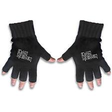 Iron Maiden White Logo Official Fingerless Black Gloves Rock Band Cotton