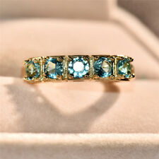 Luxury Yellow Gold Round Cut Aqua Blue Sapphire Single Row Ring Wedding Jewelry