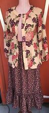 Vintage 1970s Boho Hip Floral Top and Ruffled Skirt Handmade Small