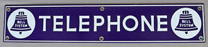 VERY CLEAN VINTAGE BELL SYSTEM PORCELAIN TELEPHONE BOOTH SIGN NEAR PRISTINE FACE