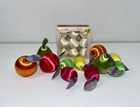 Lot 20 Vtg Pyramid Spun Satin Fruit w/ Green Leaves Christmas Ornaments Large