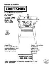 Sears Craftsman  Table Saw Manual Model # 137.218250