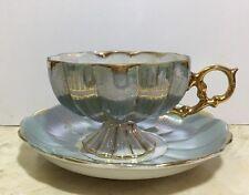 Vintage Royal Sealy China-Japan-Lustre Teacup & Saucer - Blue, Gold, Opalescent