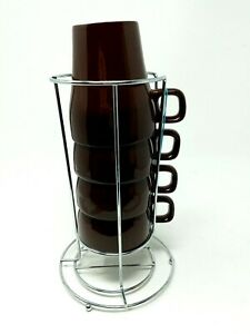 Pier 1 Imports Set of 4 8oz Brown Stoneware Coffee Stacking Mugs with Wire Rack