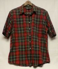 BURBERRY Men's Short Sleeve Button Down Plaid Shirt Size XL Christmas Red Green