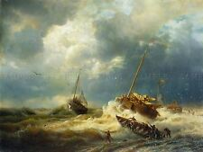 PAINTING SEASCAPE MARITIME ACHENBACH SHIPS STORM DUTCH COAST PRINT POSTER LF734