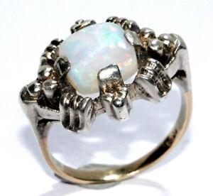 Vintage Opal-Ring Gold375/9K+Silber - 1,30ct. Voll-Opal - Gr. 51/16,2mm-änderbar