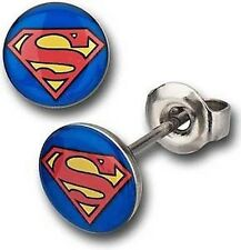 Superman Mens 10 mm Round 316L Stainless Steel Stud Earrings -Pair
