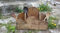 PRIMITIVE ANTIQUE OLD HAND CARVED WOODEN  WALL HANGING KITCHEN BOX with SPOONS