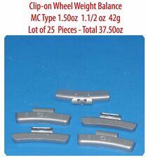 25 Pcs ZN CLIP-ON Wheel Weight Balance MC Type 1.50oz 1.1/2oz  42g Total 37.50oz