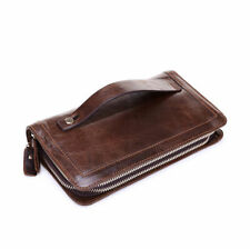 Zipper Mens Long Chocolate Genuine Leather Wallet Purse Clutch ID Card Holder