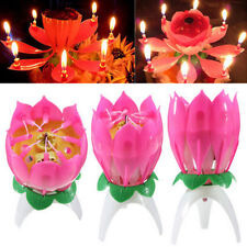 Musical Single Layer Lotus Flower Birthday Modern Cake Topper Candle Lights HFCA