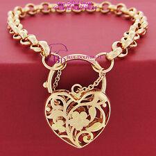 Real Solid Women 14k Rose Gold GF Bracelet Bangle Ring Chain Heart Clasp Padlock