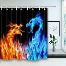 Blue and Yellow Fire Dragon Waterproof Fabric Bathroom Shower Curtain & 12 Hooks