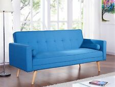 Quality Fabric 3 Seater Sofa Bed Padded With 2 Cushions Modern Sofabed Suite Blue