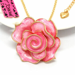 Pink Enamel Crystal Passionate rose Betsey Johnson Sweater Chain Necklace