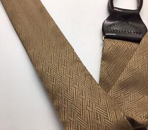 Silk Suspenders/Braces Gold/Brown Herringbone Design X-Long From Men's Wearhouse