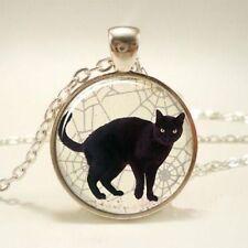 """CAT BLACK PET charm gem pendant 20"""" Sterling Silver 925 necklace chain female"""
