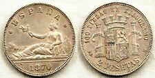 Spain-Gobierno provisional. 2 pesetas 1870*18-73. Madrid. EBC/XF. Plata 10 g.