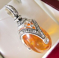 SALE ! SUPERB RUSSIAN EGG PENDANT STERLING SILVER 925 w/ GENUINE AMBER &  ENAMEL