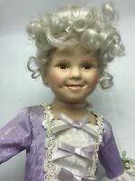 "Shirley Temple 17"" Porcelain Doll Heidi Lavender Dress w/ Stand"