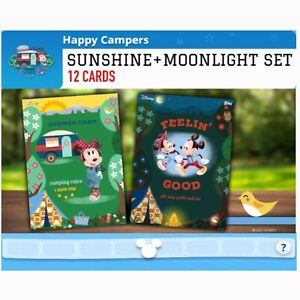 HAPPY CAMPERS-SUNSHINE+MOONLIGHT SET-12 CARDS-TOPPS DISNEY COLLECT DIGITAL