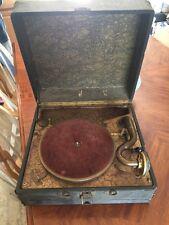 Vintage Crank Record Player Artophone Phonograph Portable Model Works