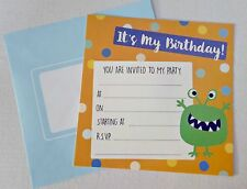 32 MONSTER PARTY INVITE CARDS invitations birthday boys kids CHILD cardboard