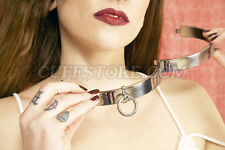 "New BDSM Neck Restraint Stainless Steel Slave Collar Choker Large 18.5"""