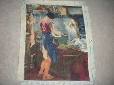 """VINTAGE COMPLETED NEEDLEPOINT VERY FINE GOBELIN GOBLIN LADY IN KITCHEN 10.5""""X14"""""""