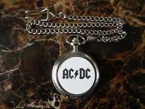 AC DC CHROME POCKET WATCH WITH CHAIN (NEW)