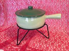 VTG YORK Green Oven Proof Gourmet Ware Stone Fondue Pot Casserole w/stand (999)