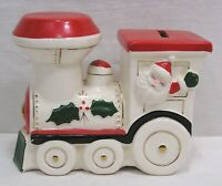 Vintage Christmas Figural Bank Santa, Pixie Waving From Train Window Japan 1960s