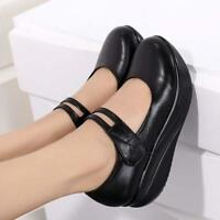 Womens Casual Leather Pumps Shoes Work Round Toe Wedge Heels Mary Janes US 4-10
