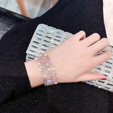 Diamante Crystal Bracelet Bridal Wedding Rhinestone Silver Gold Bangle Wristband