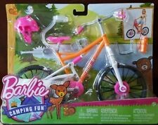 "Barbie Camping Fun Bike Bicycle For 11-12"" Dolls + Accessories Helmet Brand New!"